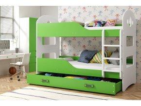 Patrová postel Domino 90x200 bílá/zelená