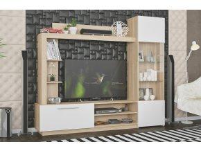 Obývací stěna TRENTO dub sonoma/bílá