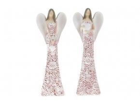 Anděl, dekorace z polyresinu, barva růžová, mix 2 tvarů, cena za 1 kus