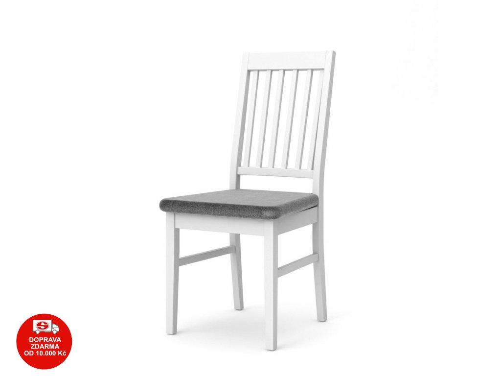 Židle Provence 306 bílá/šedá látka-2 ks