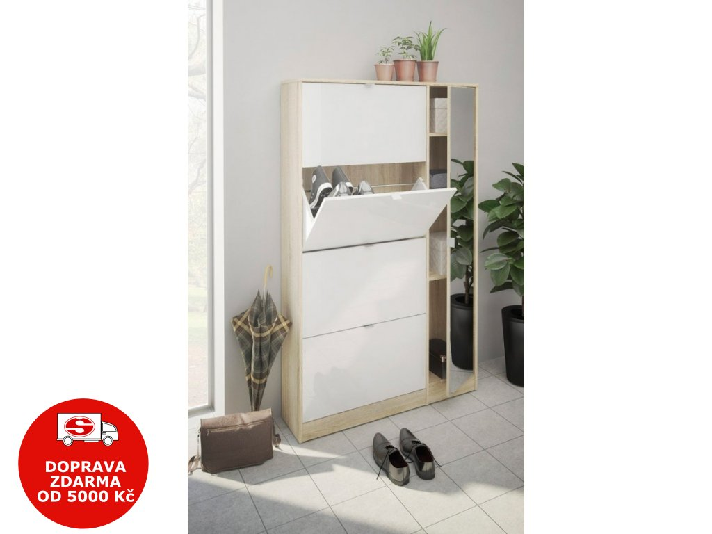 Botník se zrcadlem Flap 061 4KL/1D oak/bílý lesk/zrcadlo