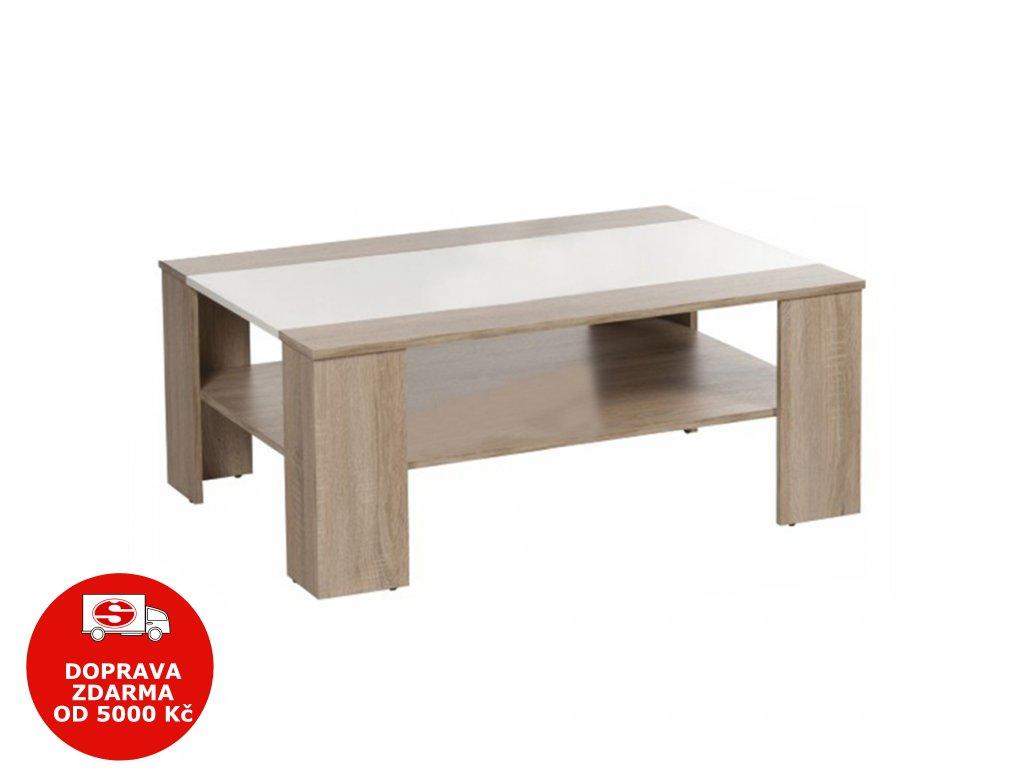 Konferenční stolek, dub sonoma / bílá extra vysoký lesk HG, ARIADNA