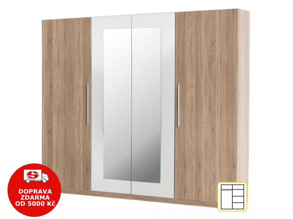 Čtyřdveřová skříň, zrcadlová, dub sonoma / bílá, MARTINA