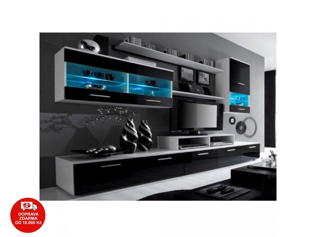 Obývací stěna, bílá / černý extra vysoký lesk HG, LEO