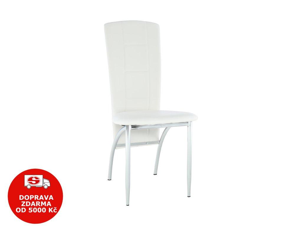 Židle, ekokůže bílá / chrom, FINA