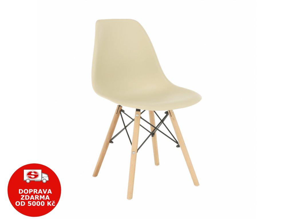 Židle, capuccino-vanilka / buk, CINKLA 3 NEW
