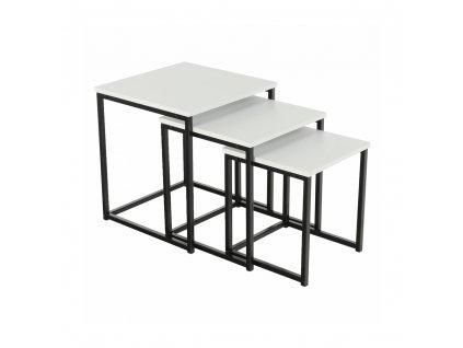 Set 3 konferenčních stolků, bílá matná / černá, KASTLER TYP 3