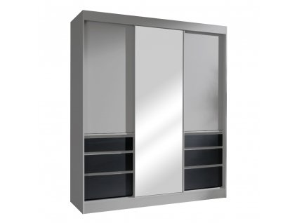 Skříň s posuvnými dveřmi, šedá/černá, 180, ROMUALDA