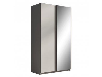 Skříň s posuvnými dveřmi, šedá, 120, ROZINE