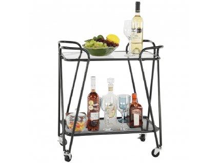 Pojízdný servírovací stolek, černá/sklo, MEGON