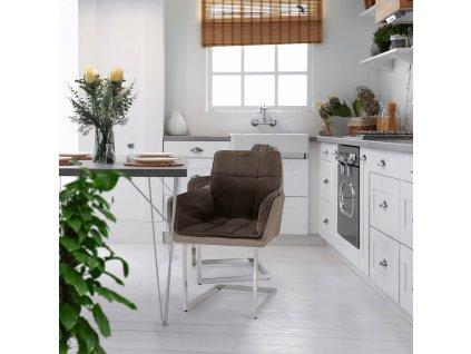 Jídelní židle, šedohnědá Taupe Velvet látka / látka, CHIMENA