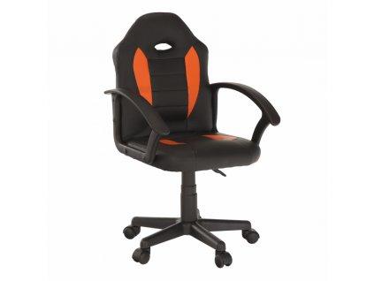 Kancelářské křeslo, ekokůže černá / oranžová, Madan New