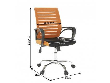 Kancelářská židle, oranžovo / černá, Lizbon new