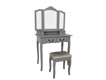 Toaletní stolek s taburetem, šedá / stříbrná, REGINA NEW