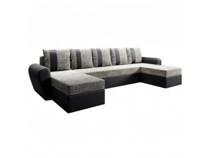Univerzální sedací souprava, černá / šedohnědá, LUNY ROH U