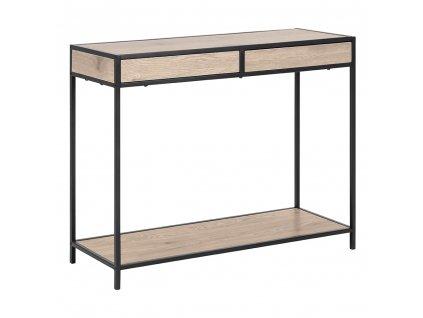 Konzolový stolek, dub/černá, NARTAN