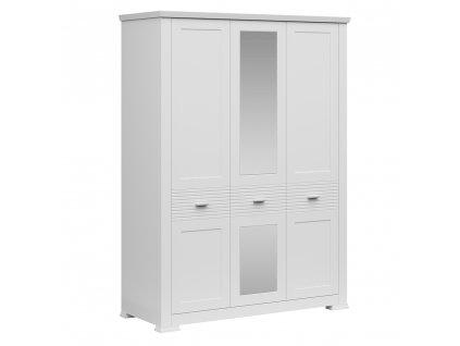 Třídveřová skříň se zrcadlem, bílá, ARYAN 3D