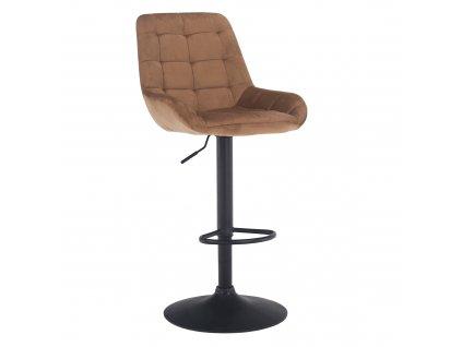 Barová židle, hnědá Velvet látka CHIRO NEW