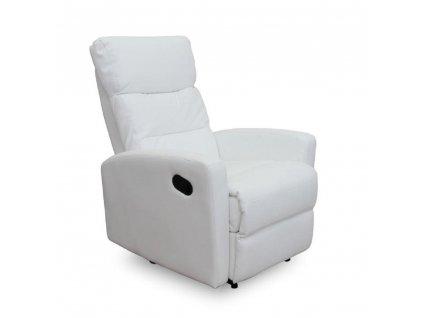 Relaxační křeslo, ekokůže, bílá, SILAS