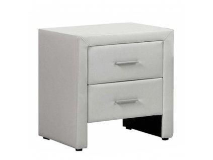 Noční stolek, ekokůže, bílá, CASTEL