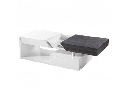 Konferenční stolek Melida, bílý lesk / šedočerná, MELIDA
