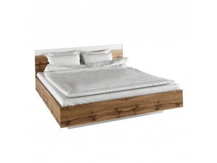 Manželská postel, 180x200, dub wotan / bílá, GABRIELA