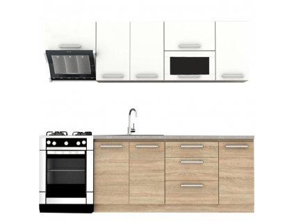Kuchyňská linka 2,4 m, dub sonoma / bílá, NOVA PLUS