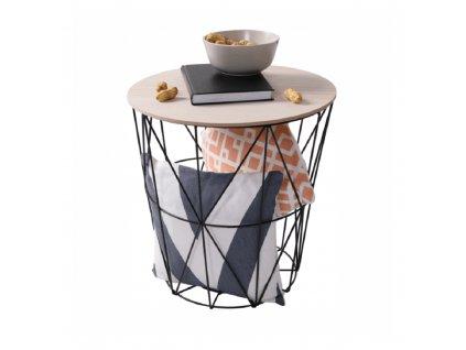 Příruční stolek, přírodní/černá, NANCER TYP 1