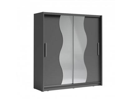 Skriňa s posúvacími dverami, tmavosivá grafit, BIRGAMO TYP 1