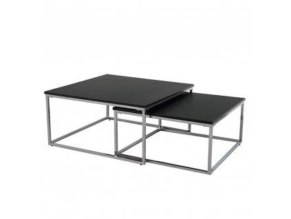 Konferenční stolky, set 2 ks, černá / chrom, AMIAS
