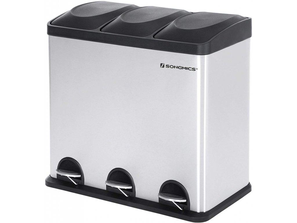Odpadkový koš LTB54L na tříděný odpad, 3 x 18 L, stříbrno/černý