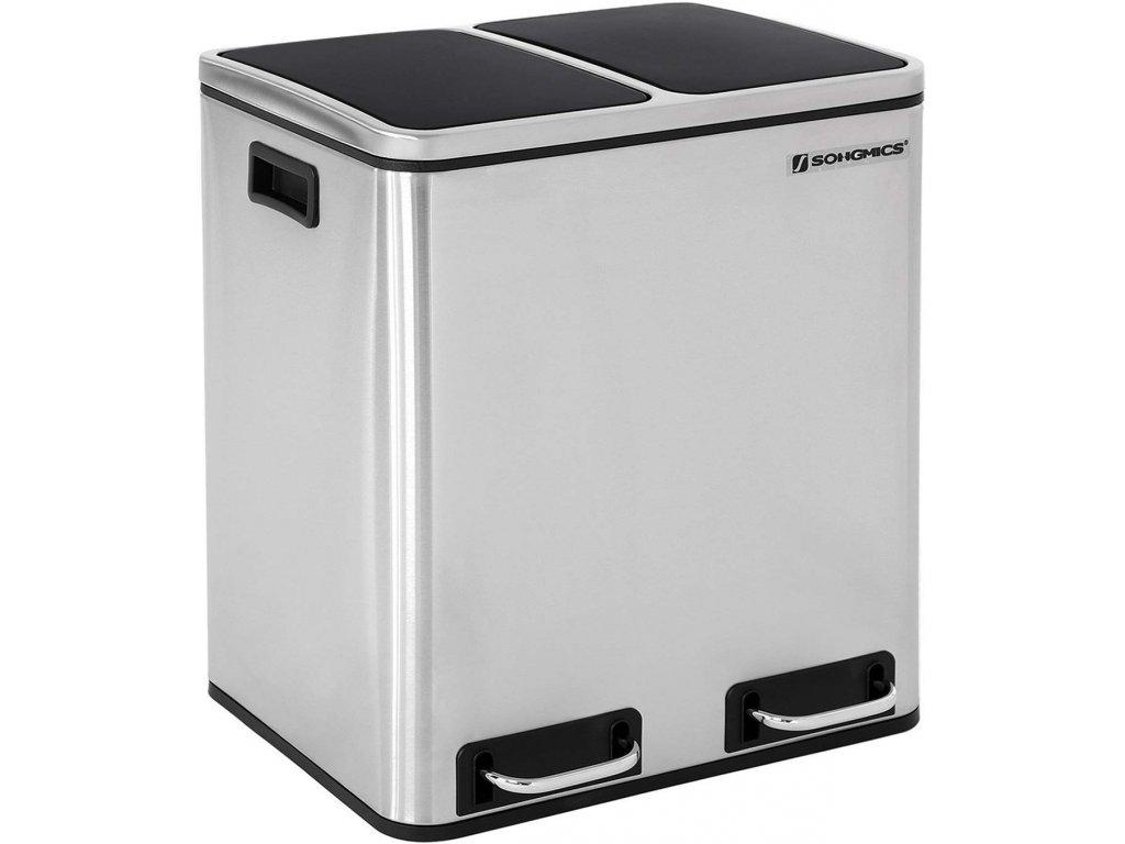 Odpadkový koš LTB30H na tříděný odpad, 2 x 15 L, stříbrno/černý