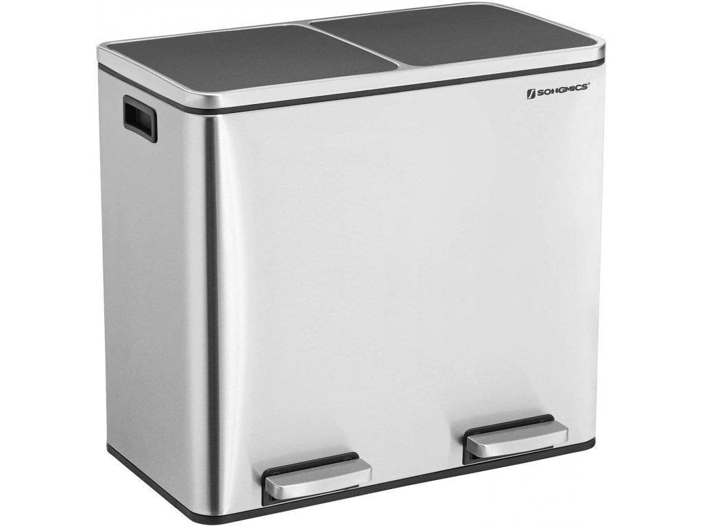 Odpadkový koš LTB48NL na tříděný odpad, 2 x 24 L, stříbrno/černý