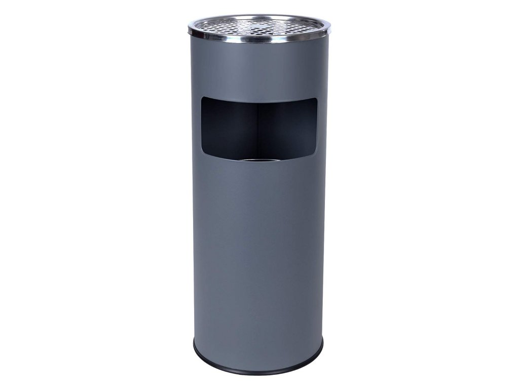 Stojanový popelník válcový s košem 60x24 cm nerez, šedý1