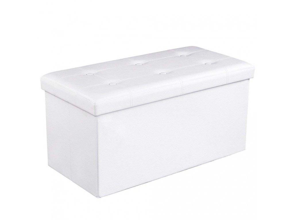 Box na hračky čalouněný skládací 76 cm bílý