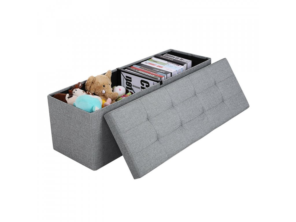 44873 ulozny sedaci box calouneny skladaci 110x38 cm sedy