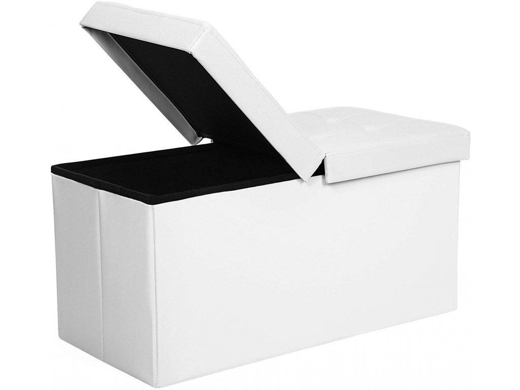 Box na hračky čalouněný skládací 76 cm bílý dělené víko