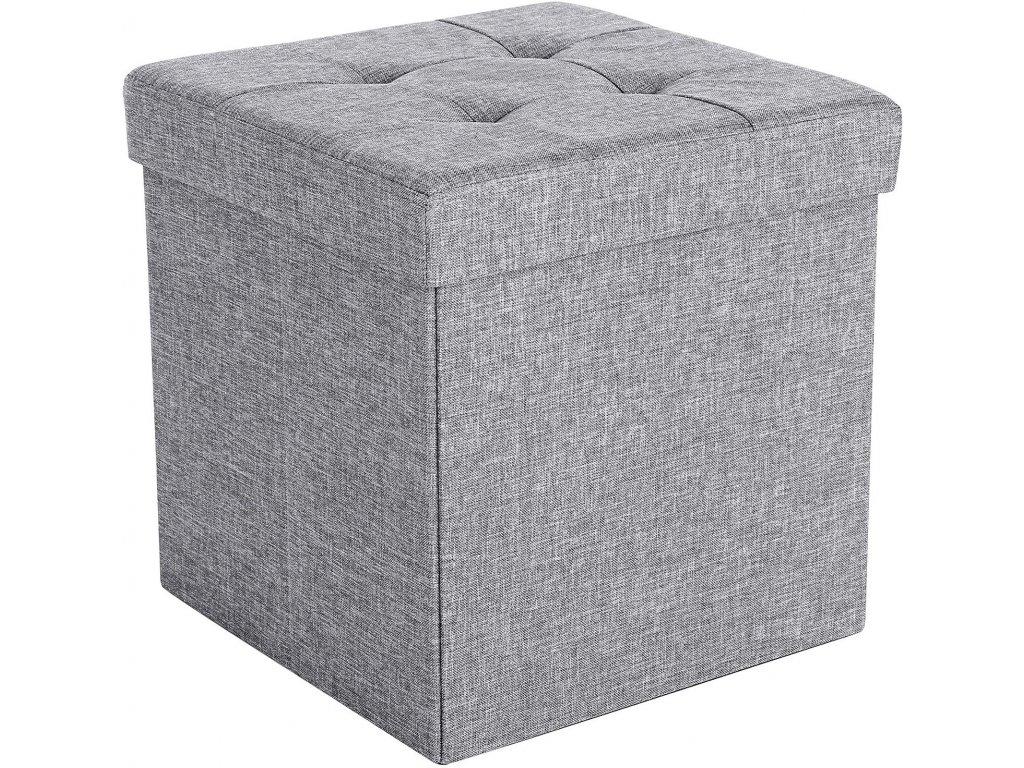 Box na hračky čalouněný skládací 38 cm tmavě šedý