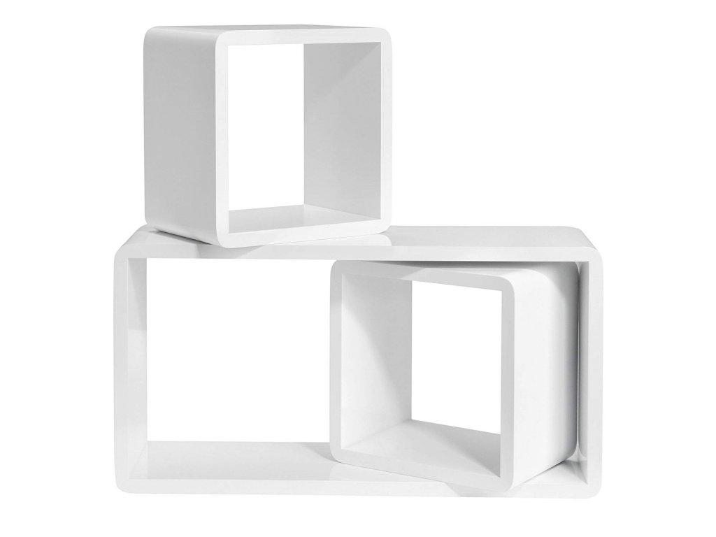 nástěnné police kostky bílá 3 ks