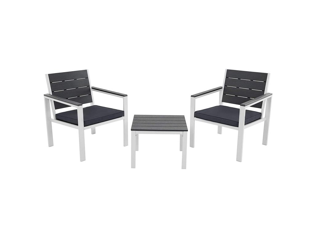 Set zahradního nábytku kovový šedý