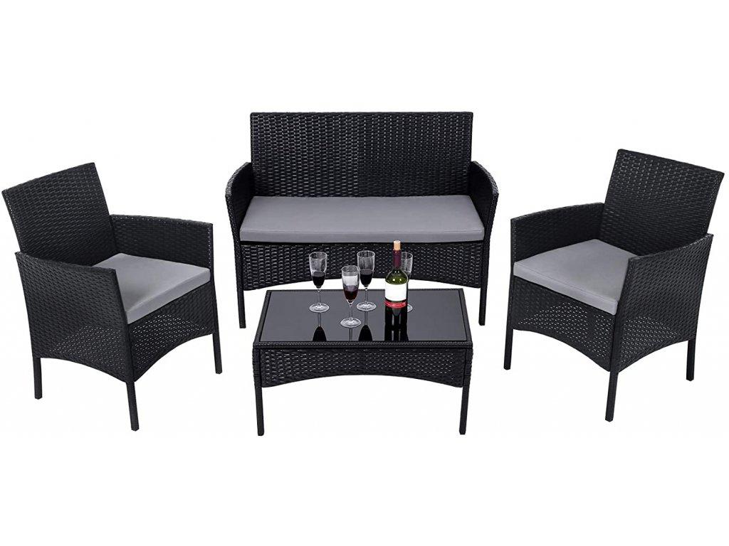 Zahradní nábytek umělý ratan černý