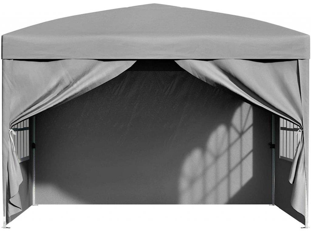 Zahradní párty stan se čytřmi stěnami šedý 300x300 cm