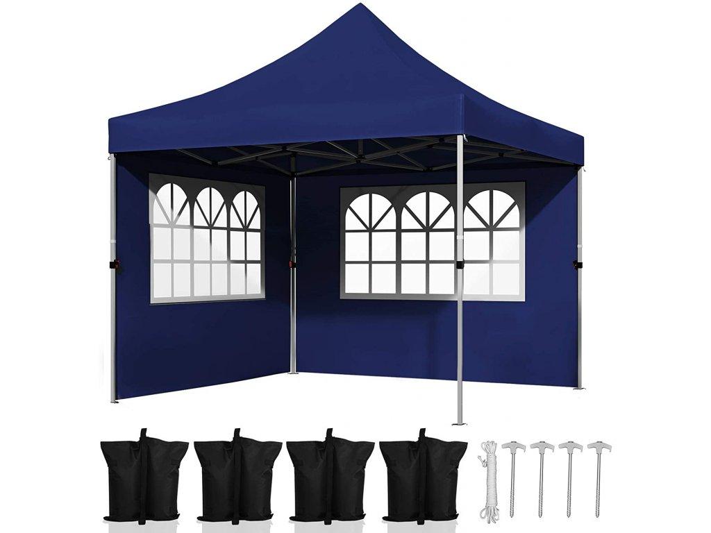Zahradní párty stan s bočnicemi modrý 3x3 m