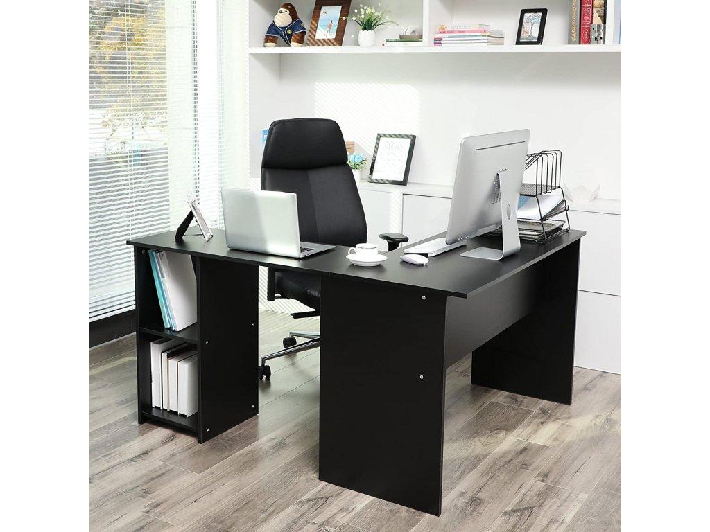 Písací stôl rohový čierny