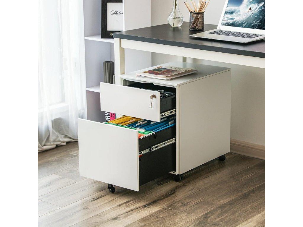 Zásuvkový kontajner pod stôl biely