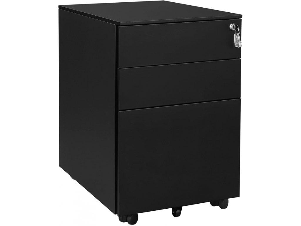 Pojazdný zásuvkový kontajner čierny 3 zásuvky