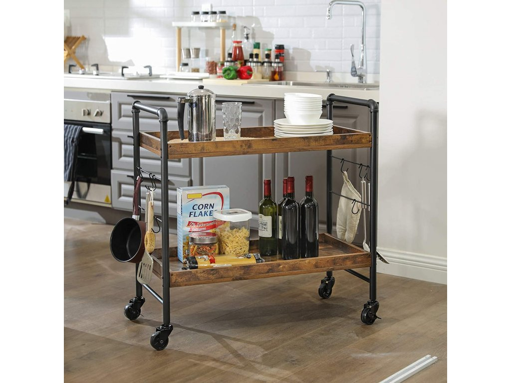 Pojazdný regál do kuchyne industriálny dizajn