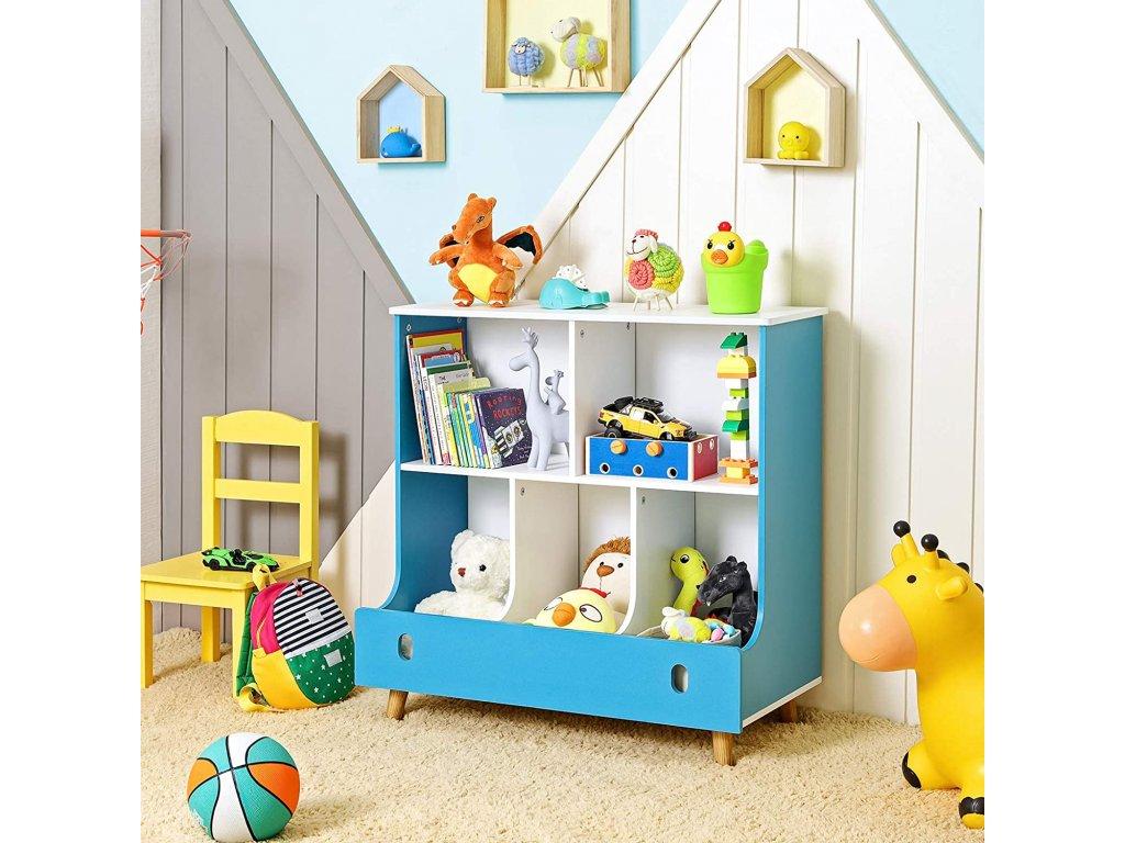 Regál na hračky modrý biely