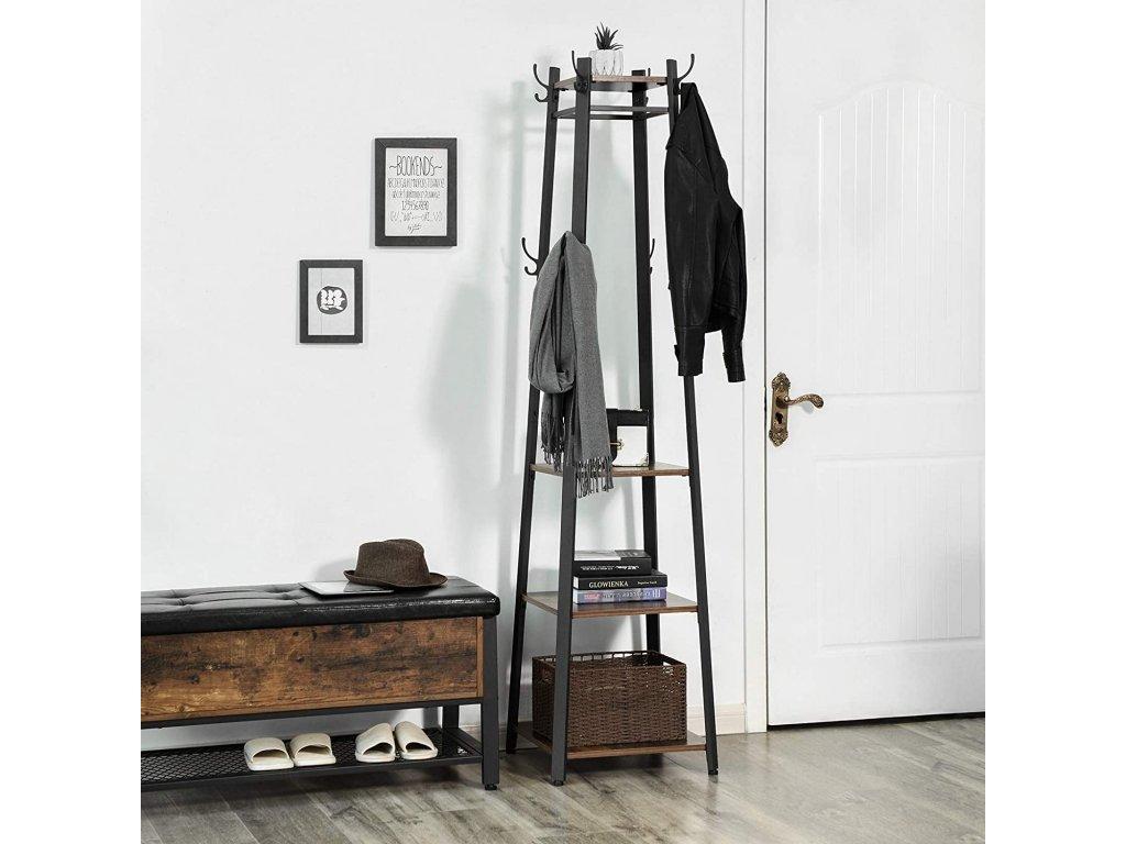 vešiak na kabáty priemyselný dizajn 181 cm hnedý