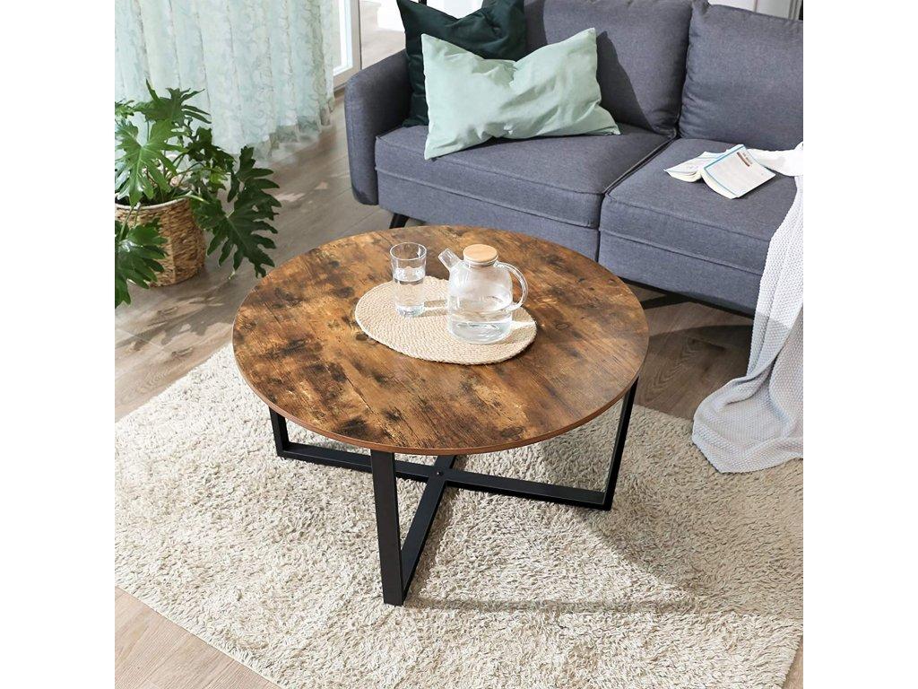 konferenčný stolík okrúhly hnedý 88 cm